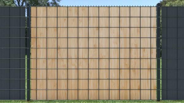Sichtschutzstreifen für Doppelstabzaun zaunblick Holzwand Planken hell zth013 A