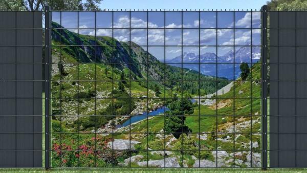 Sichtschutzstreifen für Gitterzaun Bergsee Berglandschaft zaunblick zlw005 A
