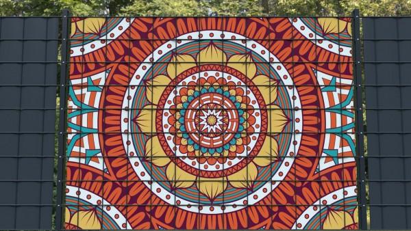 Sichtschutz für Gittermattenzäune Ornamente Muster orange rot zaunblick zmor003 a