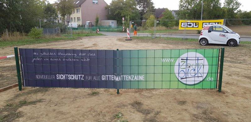 Eventbanner in Zaun verbaut bei den Ruhrpott Masters 2018 Rückseite