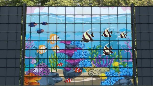 Sichtschutzstreifen für Doppelstabmatten Meeresboden Fische Aquarium B zmfk002 a