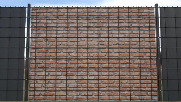 Sichtschutz für Doppalstabmatten Steinmauer rot Klinker zaunblick ztma002 a
