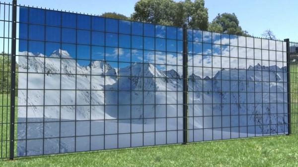 Sichtschutz für Gitterzaun Schneelandschaft Berge zaunblick zp009 A