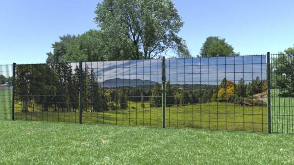 Sichtschutzzaun Berglandschaft Huette Waldstueck Panorama zaunblick zp003 A