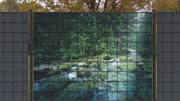 Sichtschutz für Doppelstabmatten Großer Bachlauf Wladlandschaft zaunblick zlw002 a