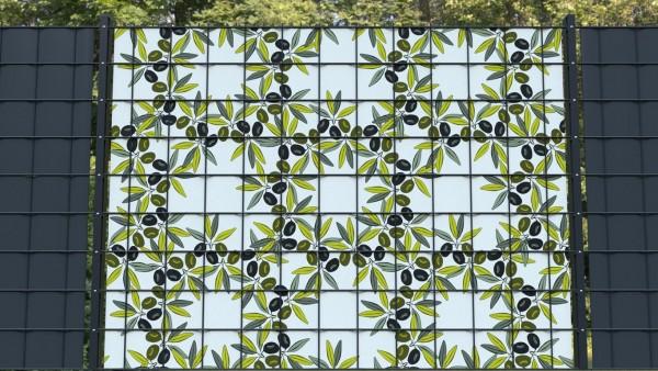 Sichtschutz für Doppelstabmatten Olivenzweige Olivenmuster zmo001 a