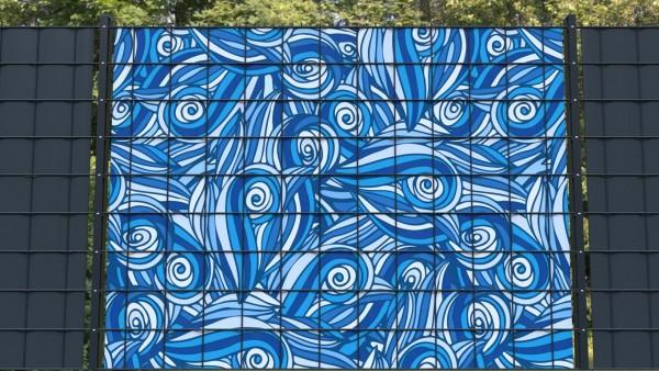 PVC Sichtschutzstreifen Wellenmuster blau hellblau weiß zma001 a