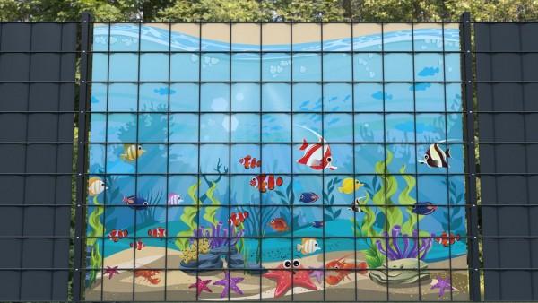 Sichtschutzstreifen für Doppelstabmatten Meeresboden Fische Aquarium zmfk001 a