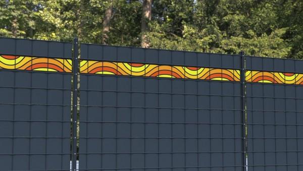 Sichtschutz für Doppelstabmatten Wellenform orange gelb Bordüre zbm004 a