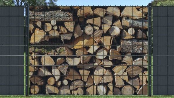 Sichtschutz für Gitterzaun Holzstapel Brennholz gemischt zaunblick zth 006 A