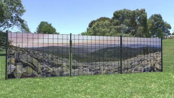 Gittermattensichtschutz Berglandschaft Steine Felsen weite Sicht zaunblick zp005 A