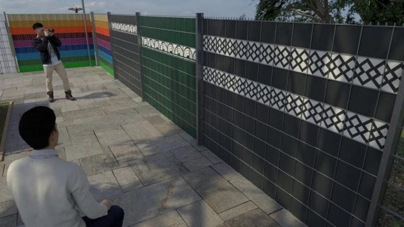 Bordürenaustellung der Sichtschutzstreifen in verschiedenen Zaunhöhen