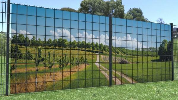 Gittermattensichtschutz Feldweg blauer Himmel Felder Panorama zaunblick zp008 A