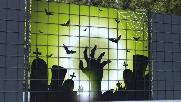 Sichtschutzstreifen für Gittermatten Halloween Friedhofmotiv Zombiehand zsh001 a