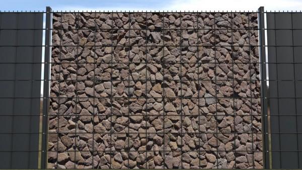 Sichtschutzstreifen für Gittermatte Felsen Naturstein braun zaunblick zts001 a