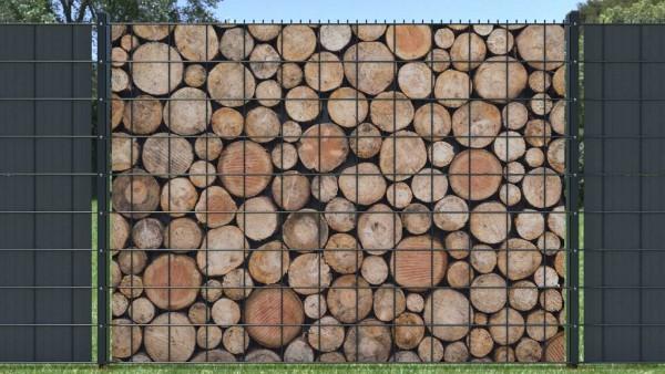 Gitterzaunsichtschutz Holzstapel kleines Rundholz zaunblick zth009 A