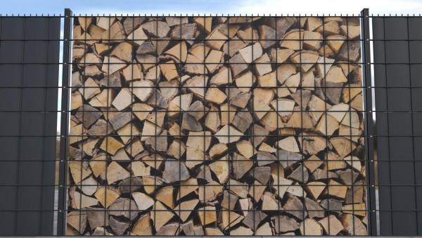Gittermattensichtschutz von zaunblick Holzstapel Kaminholz Holztextur zth002 a