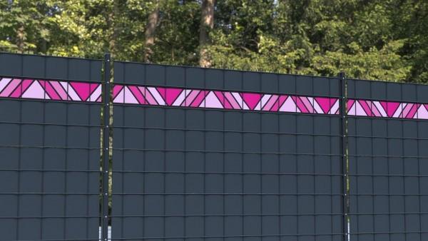 Sichtschutzstreifen Doppelstabmatte Dreiecke rosa Bordüre zbm001 a