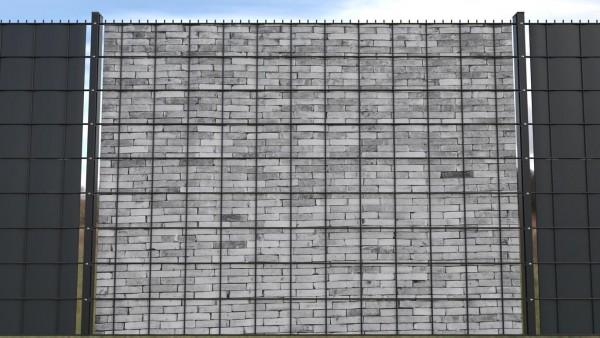 Gittermattensichtschutz von zaunblick Steinmauer hell Blockstein zaunblick ztma001 a