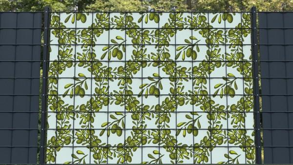 Sichtschutz für Doppelstabmatten Olivenzweige Olivenmuster B zmo002 a