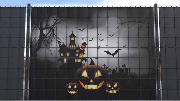 Sichtschutz Set für Gittermatten Gruselschloss Halloween Fledermäuse zsh003 a