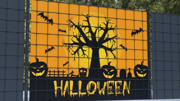Sichtschutz Set für Gittermatten Gruselbaum Halloween Kürbis zsh002 a