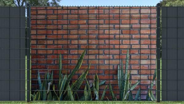 Sichtschutzzaun zaunblick Steinmauer rot mit Bepflanzung unten ztma003 A