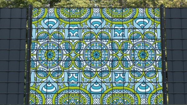 Sichtschutz für Gittermattenzäune Ornamente Muster grün mint zaunblick zmor002 a