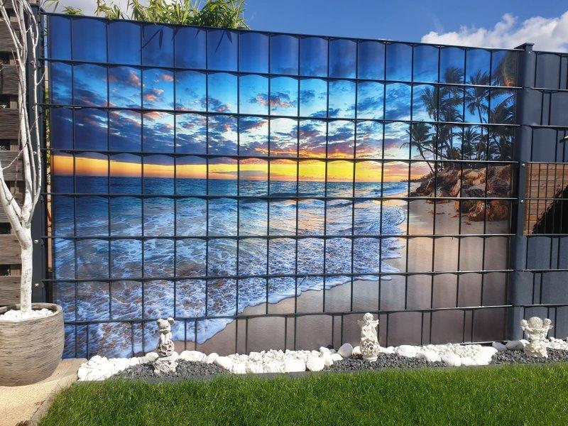 Strandlandschaft auf individuellem Windschutz von Zaunblick