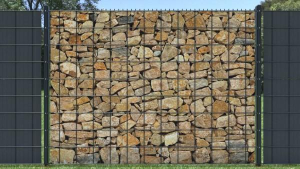 Sichtschutzstreifen für Gitterzaun zaunblick Steinmauer Naturstein Sandstein klein ztma006 A