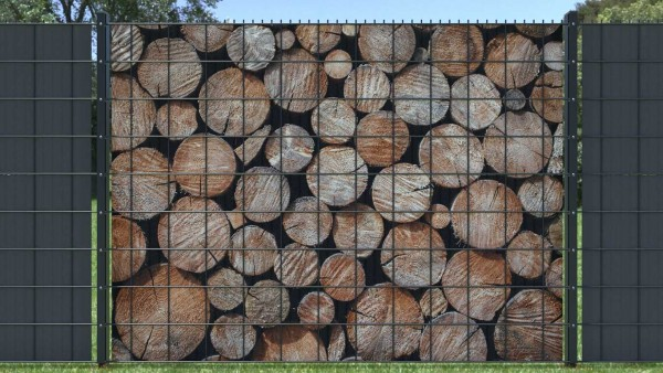 Sichtschutzstreifen für Doppelstabzaun Holzstapel großes Rundholz zaunblick zth009 A