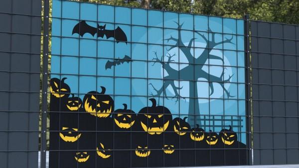 Sichtschutz für Gittermattenzaun Kürbisfeld Halloween zsh006 a