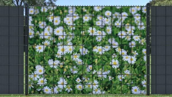 Sichschutzstreifen für Gittermatten Blumenmuster weiß gelb zaunblick ztp005 A