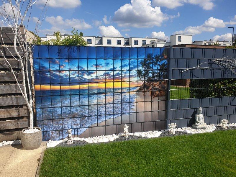 Schönes Strandmotiv abgebildet auf dem individuellen Sichtschutz für Zäune von Zaunblick