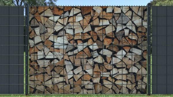 Sichtschutz für Doppelstabzaun Holzstapel Brennholz klein zaunblick zth007 A