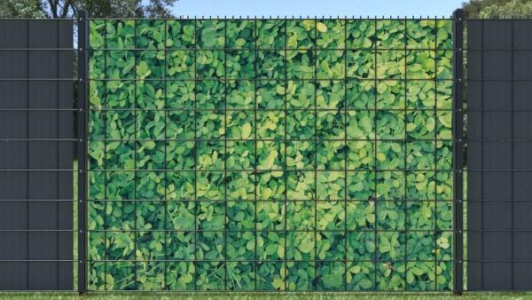 Sichtschutzstreifen Hecke Blätterwand hellgrün runde Blätter zaunblick ztp007 A