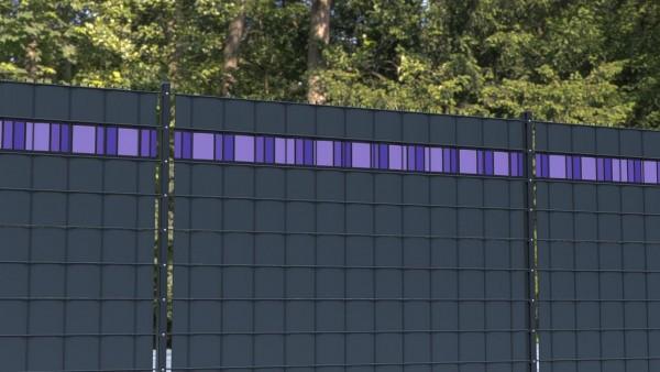 Gittermattenzaun Sichtschutzstreifen Filmspur lila Bordüre zbm002 a