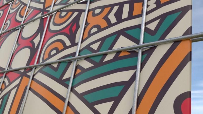 Bunte Sichtschutzstreifen eingebaut in Doppelstabmatte in der Farbe Zink